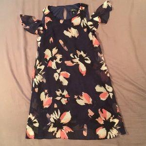 Navy blue and pink floral dress cold shoulders.